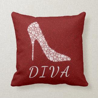 Diva Glam Glitter Diamond High Heel Shoes Red Throw Pillow