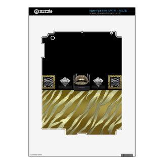 Diva Gold Lips Gold Zebra Decal For iPad 3