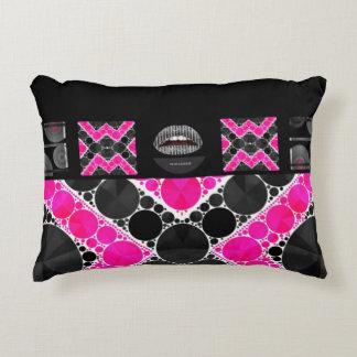 Diva Hot Pink Lips Bling Accent Pillow