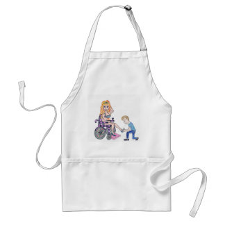 Diva in a wheel-chair with her Man at her feet Adult Apron