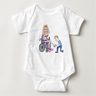 Diva in a wheel-chair with her Man at her feet Baby Bodysuit
