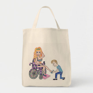 Diva in a wheel-chair with her Man at her feet Grocery Tote Bag