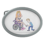 Diva in a wheel-chair with her Man at her feet Belt Buckle