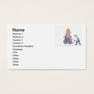 Diva in a wheel-chair with her Man at her feet Business Card