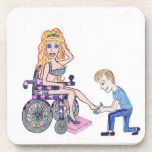 Diva in a wheel-chair with her Man at her feet Coaster