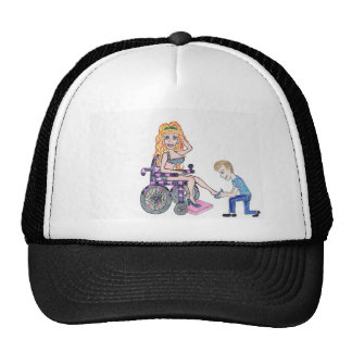 Diva in a wheel-chair with her Man at her feet Mesh Hats