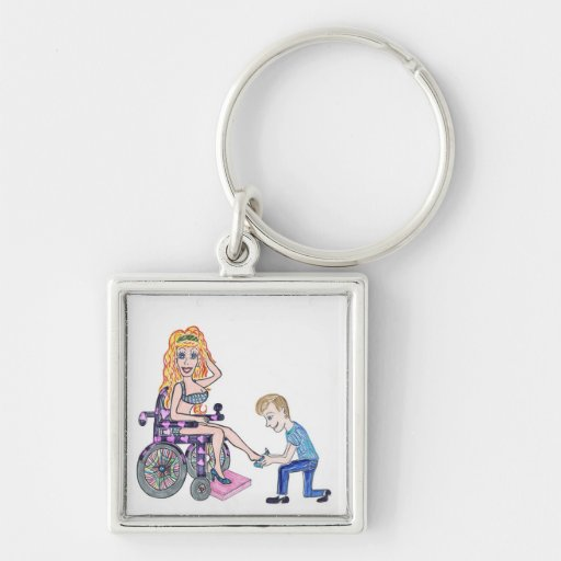 Diva in a wheel-chair with her Man at her feet Keychain