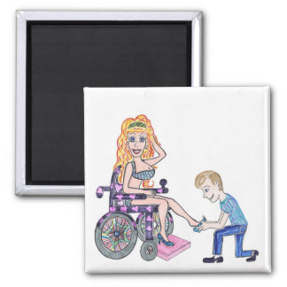 Diva in a wheel-chair with her Man at her feet Magnet