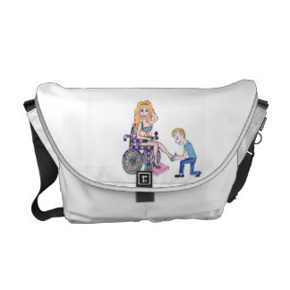 Diva in a wheel-chair with her Man at her feet Messenger Bag