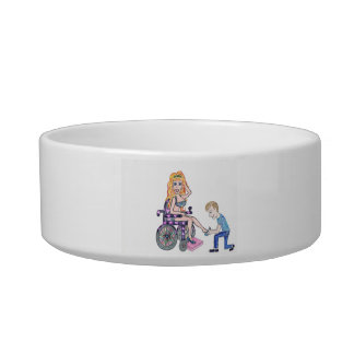 Diva in a wheel-chair with her Man at her feet Cat Food Bowl