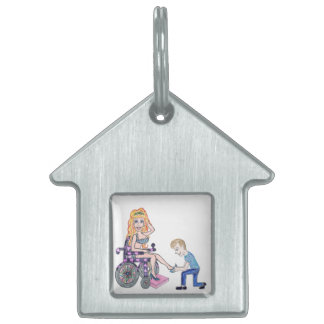 Diva in a wheel-chair with her Man at her feet Pet Name Tag