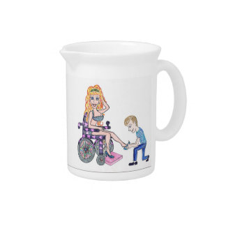 Diva in a wheel-chair with her Man at her feet Pitcher