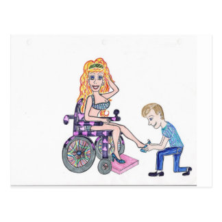Diva in a wheel-chair with her Man at her feet Postcard