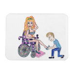 Diva in a wheel-chair with her Man at her feet Vinyl Magnet