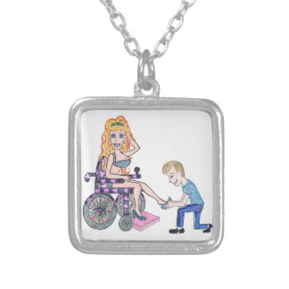 Diva in a wheel-chair with her Man at her feet Silver Plated Necklace