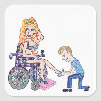 Diva in a wheel-chair with her Man at her feet Square Sticker