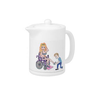 Diva in a wheel-chair with her Man at her feet Teapot