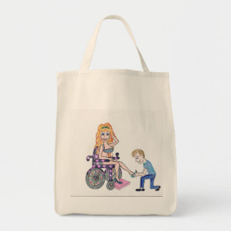 Diva in a wheel-chair with her Man at her feet Tote Bag