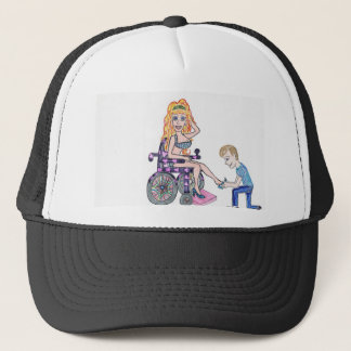 Diva in a wheel-chair with her Man at her feet Trucker Hat