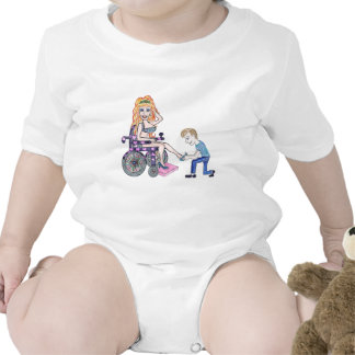 Diva in a wheel-chair with her Man at her feet Bodysuits