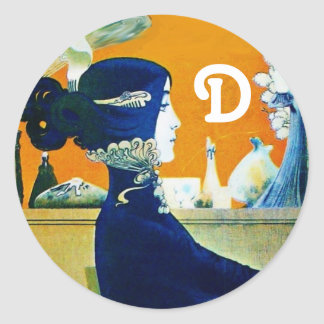 DIVA IN BLUE ,BEAUTY FASHION MONOGRAM CLASSIC ROUND STICKER
