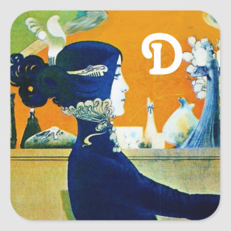 DIVA IN BLUE ,BEAUTY FASHION MONOGRAM SQUARE STICKER