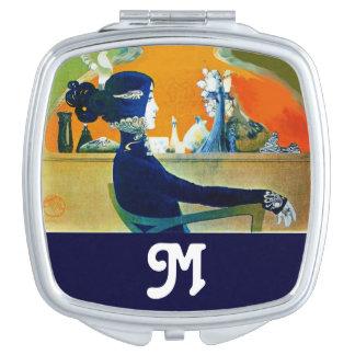 DIVA IN BLUE Beauty Fashion Monogram Vanity Mirror