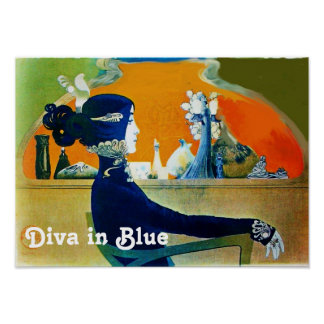 DIVA IN BLUE / Beauty,Hair,Fashion Art Nouveau Poster