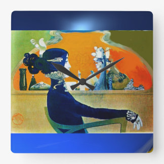 DIVA IN BLUE SQUARE WALLCLOCK