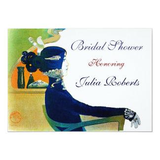DIVA IN BLUE MONOGRAM BRIDAL SHOWER PARTY CARD
