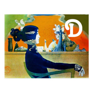 DIVA IN BLUE MONOGRAM POSTCARD