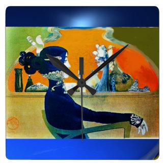 DIVA IN BLUE SQUARE WALL CLOCK