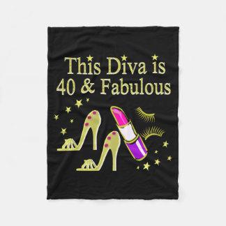 DIVA IS 40 AND FABULOUS GOLD HIGH HEEL DESIGN FLEECE BLANKET
