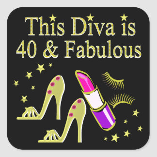 DIVA IS 40 AND FABULOUS GOLD HIGH HEEL DESIGN SQUARE STICKER