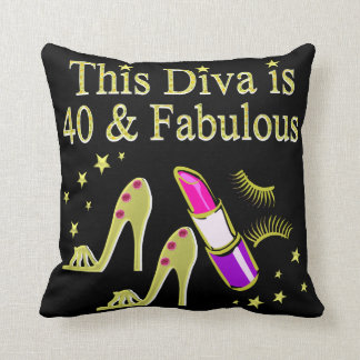 DIVA IS 40 AND FABULOUS GOLD HIGH HEEL DESIGN THROW PILLOW