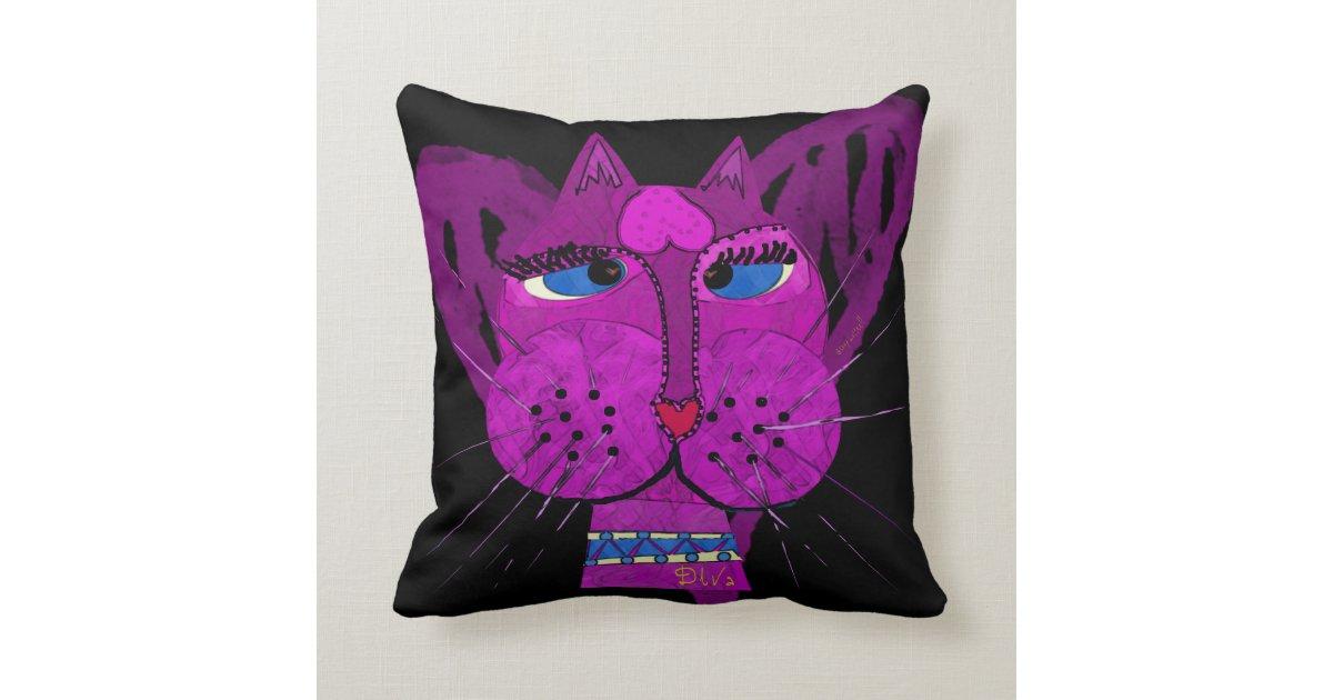 Kitty Throw Pillow : Diva Kitty Throw Pillow Zazzle