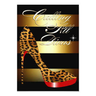 Diva Leopard Stiletto Stripes Surprise Party Card