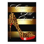 """Diva Leopard Stiletto Stripes Surprise Party 5"""" X 7"""" Invitation Card"""