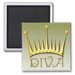 Diva magnet in gold fridge magnet
