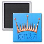 Diva magnet in nectarine and blue fridge magnet