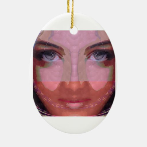 Diva Mischief Girl Graphics on Gifts POD Double-Sided Oval Ceramic Christmas Ornament
