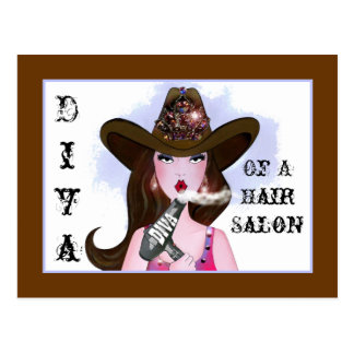 """""""Diva of a Cowgirl"""" Hair Salon Postcards"""