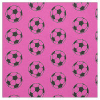Diva Pink and Black Soccer Balls Fabric