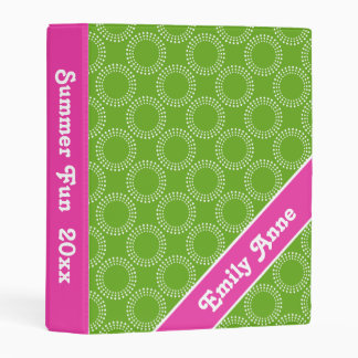 Diva Pink and Green Apple Polka Dot Rings Mini Binder