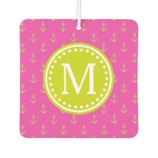 Diva Pink and Lime Green Anchor Monogram Car Air Freshener