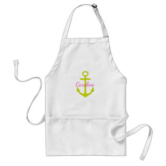 Diva Pink and Lime Green Anchor Personalized Adult Apron