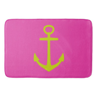 Diva Pink and Lime Green Nautical Anchor Bathroom Mat
