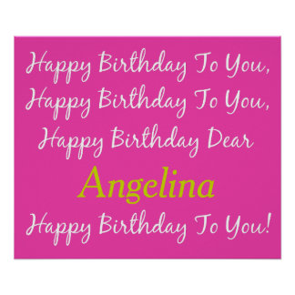 Diva Pink and White Birthday Song Personalized Poster