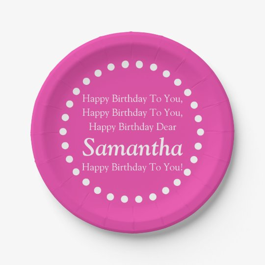 Diva Pink And White Happy Birthday Song Name Paper Plate