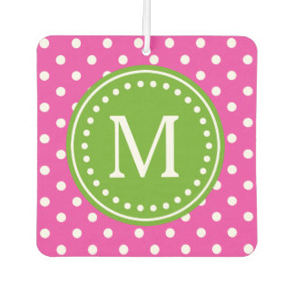 Diva Pink and White Polka Dot with Green Apple